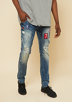 Flex Medium Wash Distressed Patch Skinny Jeans