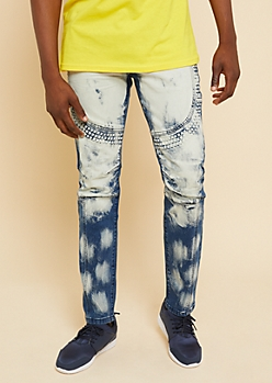Flex Medium Wash Painted Embossed Stud Skinny Jeans