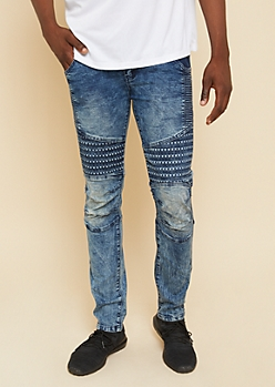 Flex Dark Acid Wash Embossed Stud Skinny Moto Jeans