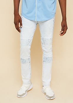 Flex Light Ice Wash Embossed Stud Skinny Jeans
