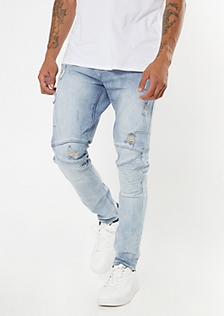 Light Wash Ripped Moto Skinny Jeans