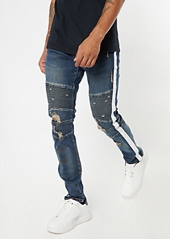 Dark Wash Side Striped Ripped Moto Skinny Jeans