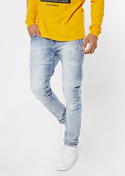 Supreme Flex Light Wash Moto Skinny Jeans