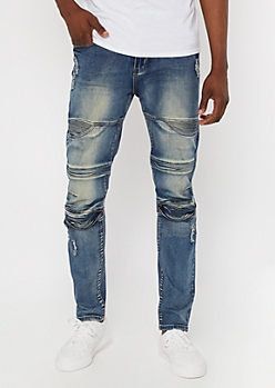 Supreme Flex Medium Rinse Moto Skinny Jeans