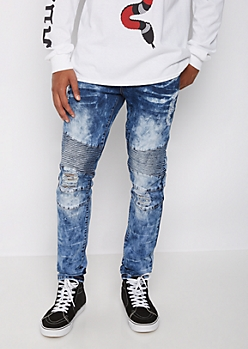 Flex Bleached Black Moto Patch Skinny Jeans