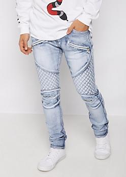 Flex Zip Pocket Distressed Moto Skinny Jeans