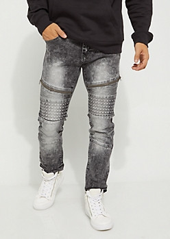 Flex Black Distressed Pyramid Moto Skinny Jeans