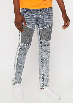 Supreme Flex Acid Wash Striped Moto Skinny Jeans