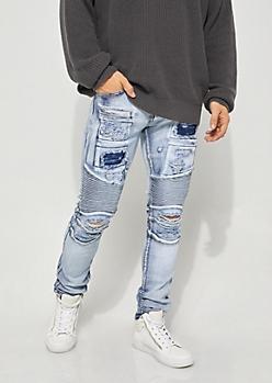 Flex Light Stone Washed Moto Skinny Jeans