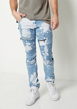 Flex Bleached Moto Skinny Jeans