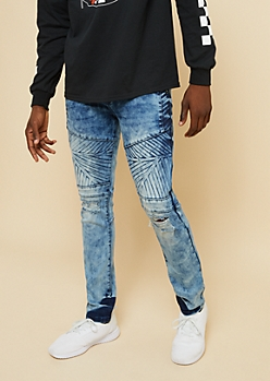 Flex Medium Acid Wash Snowflake Moto Skinny Jeans