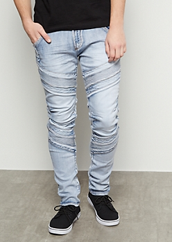 Flex Light Ice Wash Distressed Moto Skinny Jeans