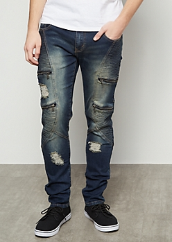 Flex Dark Wash Distressed Zippered Moto Skinny Jeans