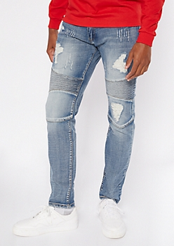 Light Wash Distressed Moto Skinny Jeans