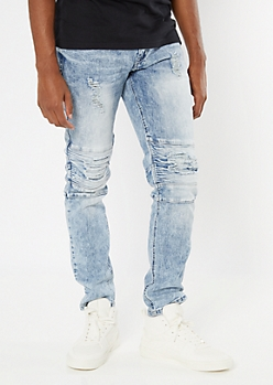 Light Acid Wash Ripped Repaired Moto Skinny Jeans