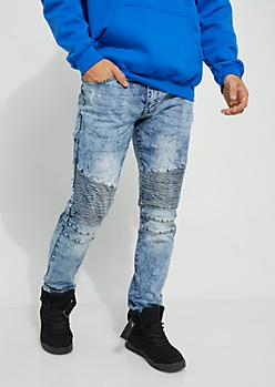 Dark Blue Acid Wash Moto Stretch Jeans
