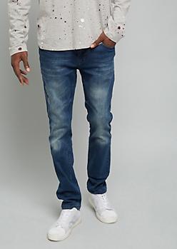 Medium Wash Stitched Pocket Skinny Jeans