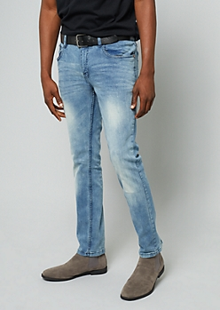 Light Wash Sandblasted Skinny Jeans