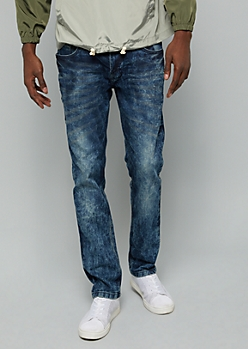 Dark Acid Wash Stitched Pocket Skinny Jeans