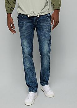 Dark Acid Wash Stitched Pocket Skinny Jeans
