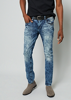 Medium Acid Wash Sandblasted Skinny Jeans