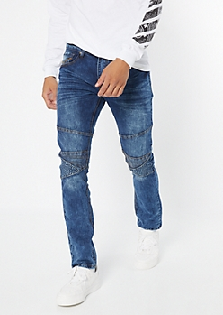 Medium Wash Embossed Moto Skinny Jeans
