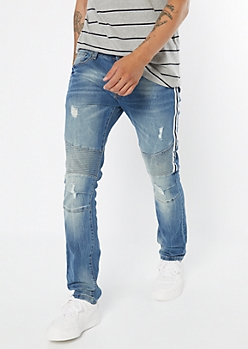 Medium Wash Side Striped Moto Skinny Jeans