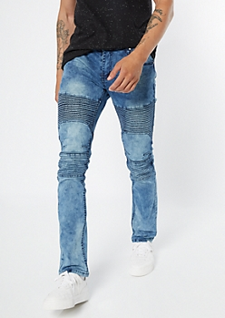 Medium Blue Acid Wash Quilted Moto Skinny Jeans