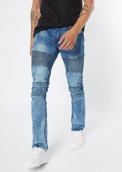 Medium Blue Acid Wash Quilted Moto Skinny Jeans