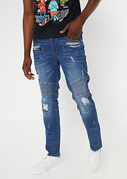 Dark Wash Ripped And Destroyed Moto Skinny Jeans