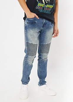 Medium Acid Wash Zip Moto Skinny Jeans