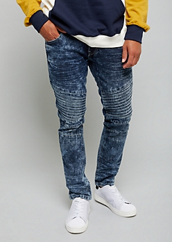 Dark Acid Wash Moto Knee Skinny Jeans