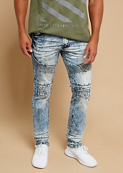 Light Bleach Wash Skinny Moto Jeans