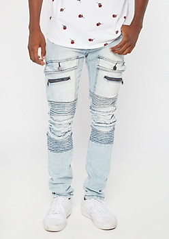 Light Wash Cargo Distressed Moto Skinny Jeans