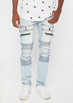 Light Wash Cargo Distressed Moto Skinny Jeans
