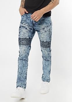 Medium Wash Crinkled Moto Faux Pocket Skinny Jeans