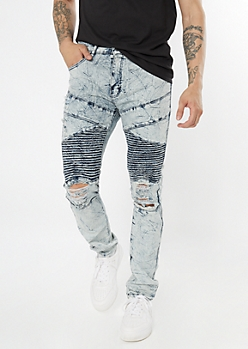 Light Wash Crinkled Moto Blown Knee Skinny Jeans
