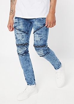 Medium Antique Wash Zip Ripped Skinny Jeans