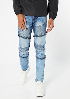 Medium Acid Wash Moto Zip Skinny Jeans
