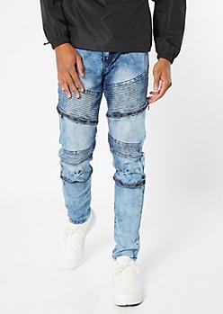 Medium Acid Wash Moto Zip Skinny Jeans
