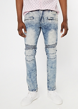 Supreme Flex Acid Wash Moto Zip Skinny Jeans