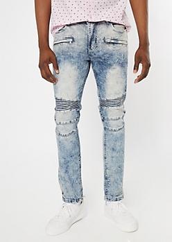 Supreme Flex Acid Wash Moto Zip Skinny Jeans