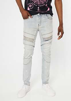Supreme Flex Light Wash Bleached Moto Skinny Jeans