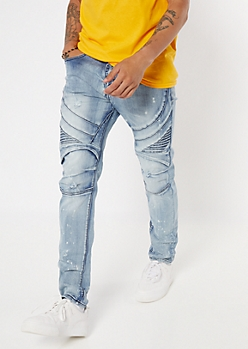 Light Faded Wash Moto Skinny Jeans