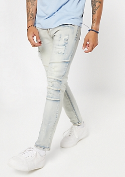 Bleach Wash Ripped Seamed Skinny Jeans