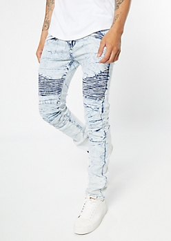 Light Marbled Wash Zippered Skinny Moto Jeans