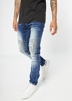 Medium Wash Ripped Repaired Skinny Moto Jeans