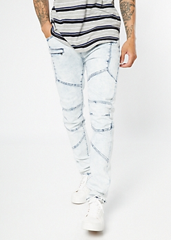 Light Acid Wash Asymmetric Zippered Skinny Jeans