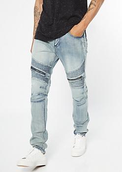Light Wash Zippered Skinny Moto Jeans