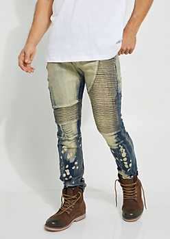 Blue Bleached Distressed Moto Skinny Pants